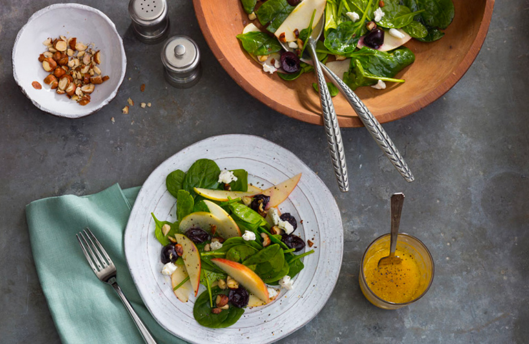 FRESH CHERRY, HAZELNUT, APPLE, AND GOAT CHEESE SALAD WITH OLIVE OIL VINAIGRETTE